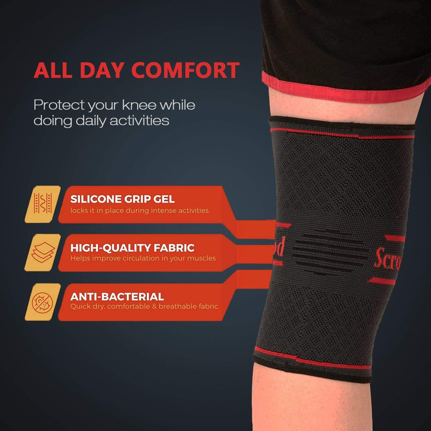 L Professional Knee Support Knee Brace Compression Sleeve Volleyball Knee Pads Knee Sleeve for Men and Women Running Basketball and Other Sports Knee Compression Sleeve