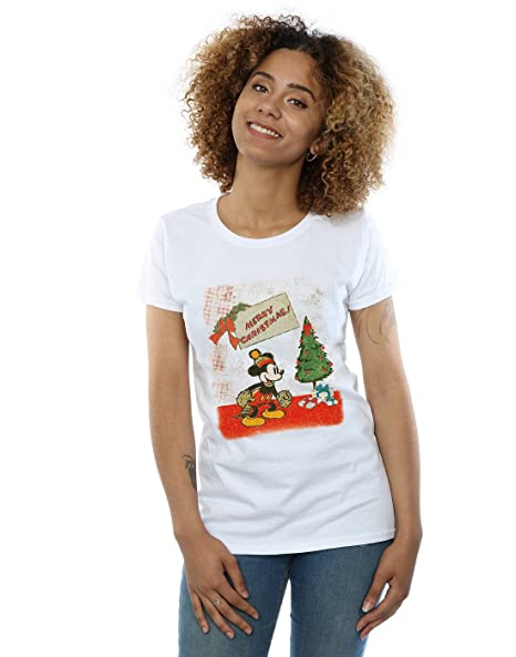 disney womens mickey mouse vintage christmas t shirt small white