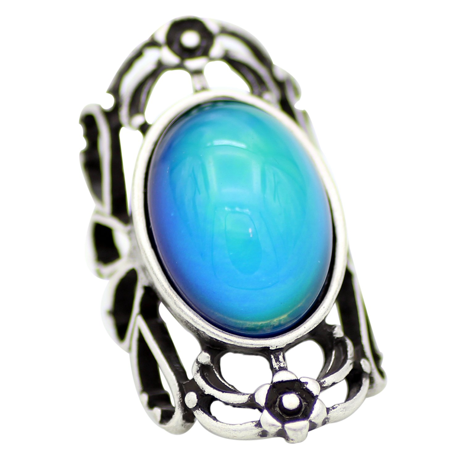 Mojo Hollowed Flower Pattern Antique Sterling Silver Plating Oval Stone Color Change Mood Ring MJ-RS053