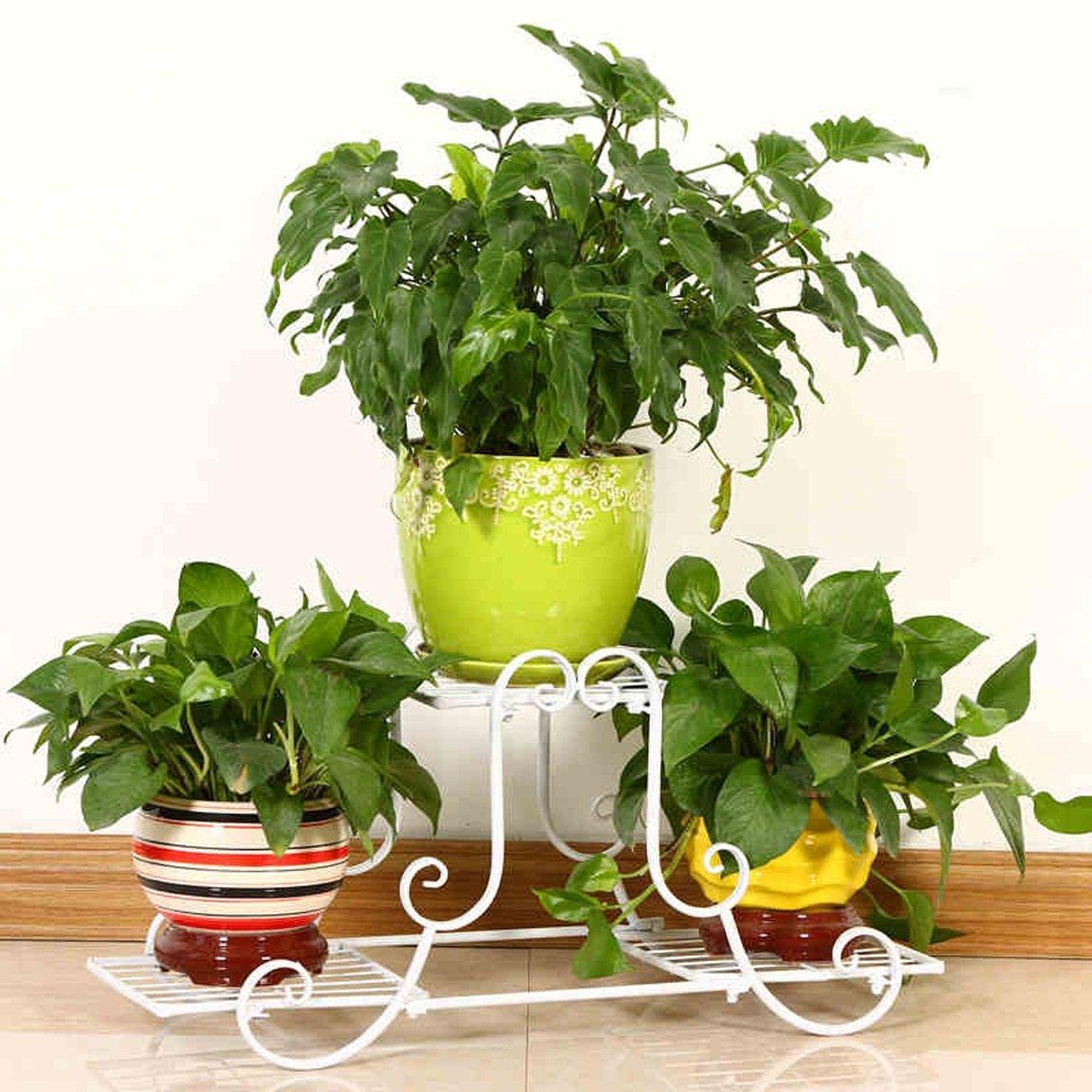 LRW Nordic Iron Flower Rack Multi Storey Green Lounge, Chlorophytum Floor Type Flower Pot Rack, Living Room Rack, White