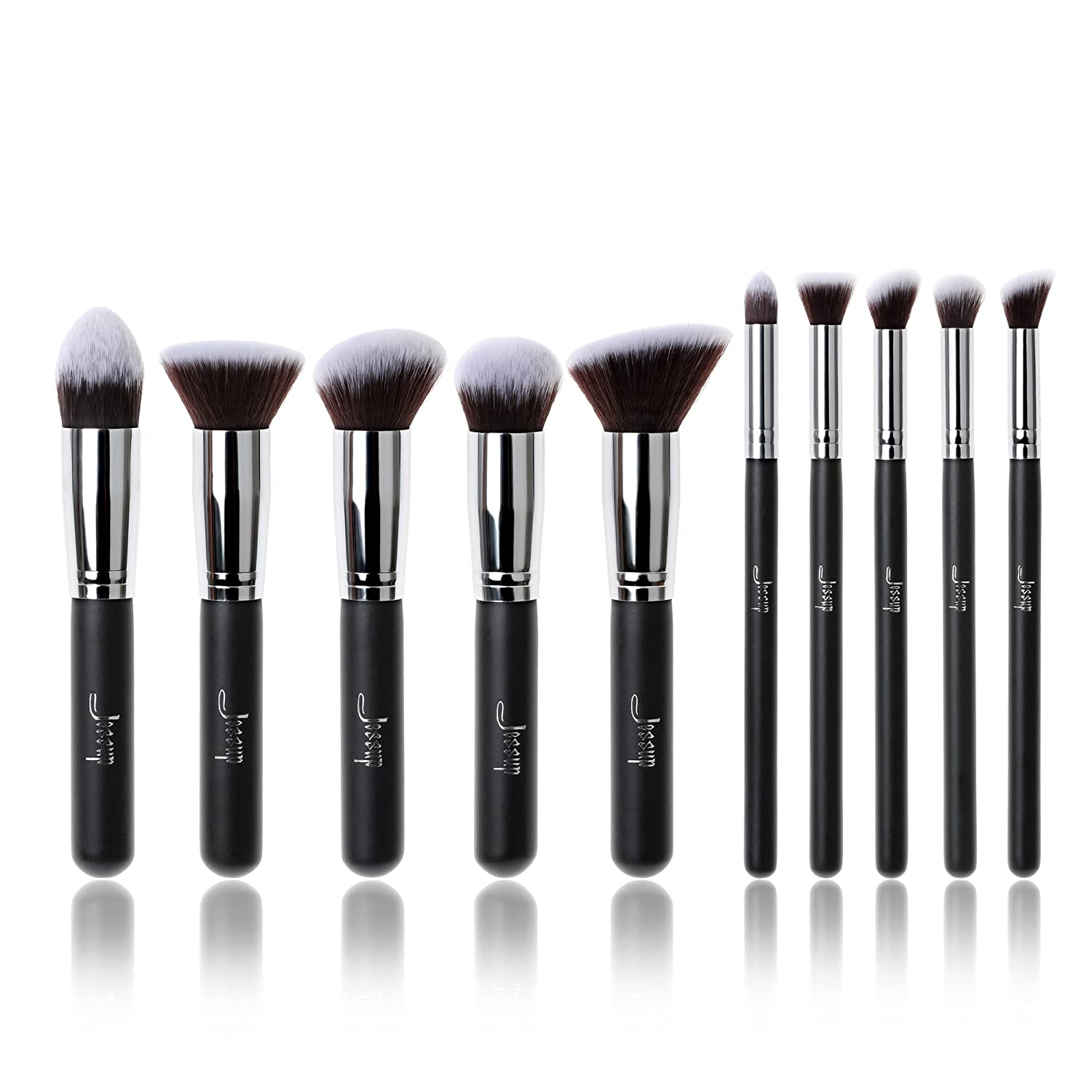Jessup 10pcs Black/Silver Professional Liquid Kabuki Brush Foundation, Blush Brush,Blending Powder,Eyeliner,Eyeshadow Brush,Concealer,Make Up Tools Mankalun