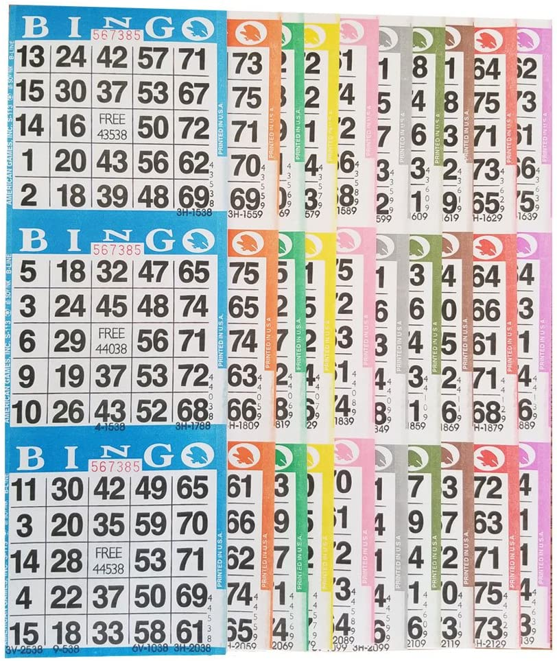 American Games Bingo Paper Game Cards – 3 Card – 10 Bingo Sheets – 100 Books – 10 Colors, Made in USA
