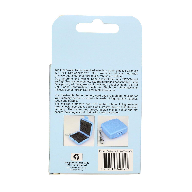 Flashwoife Turtle-MSD8 estuche protector antipolvo para 8 tarjetas de memoria MicroSD azul