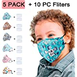 Kids' Face Masks Baby Reusable Breathable Bandanas with Filters Dustproof PM2.5 Pollution Respirator Face Cover For…