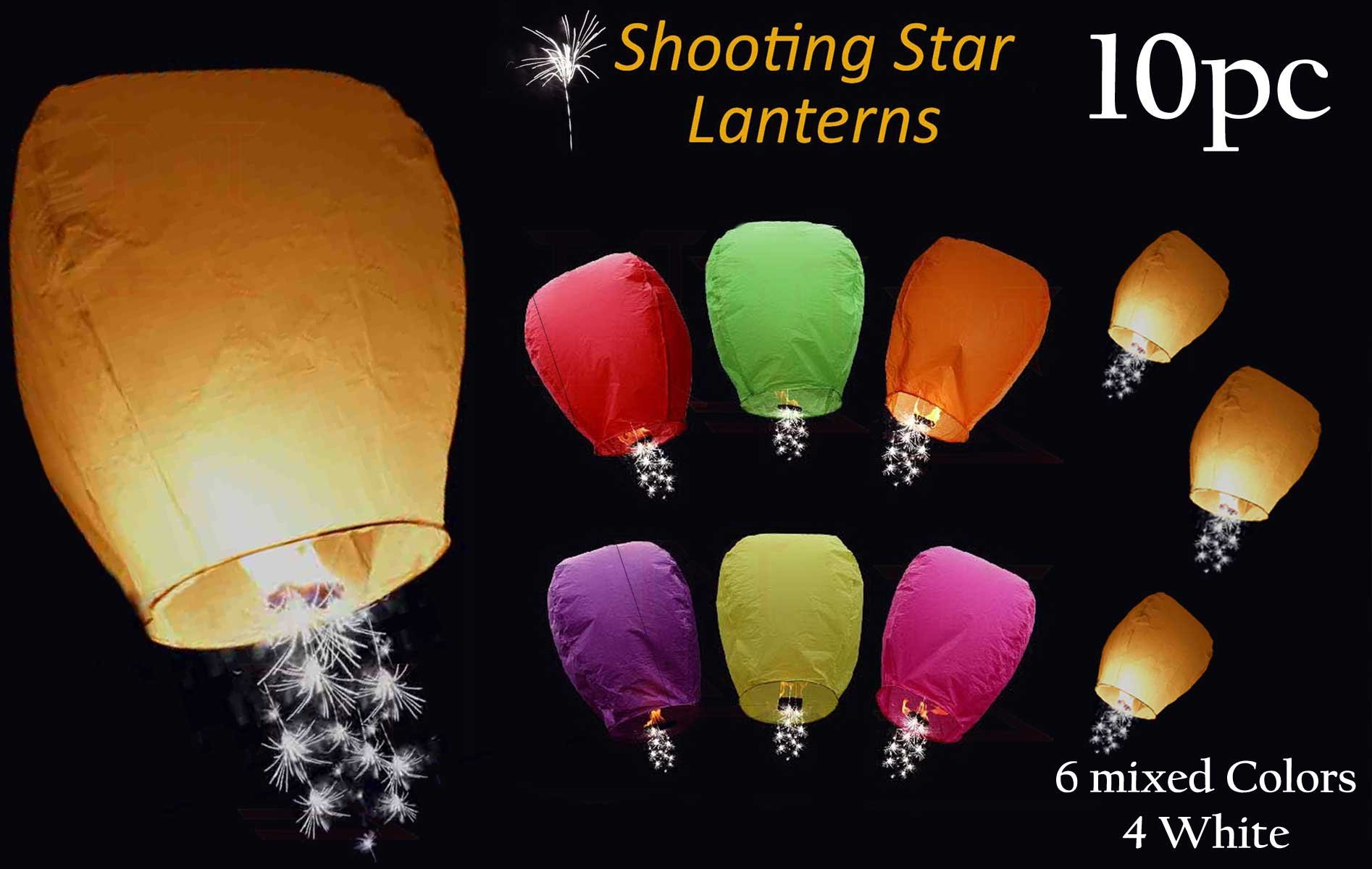 10 Of THE ORIGNAL SHOOTING STAR COLORED SKY LANTERN