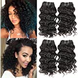Brazilian Deep Curly Hair 4 Bundles Unprocessed Deep Wave Hair Weave Extensions 8 Inch Short Hair Brazilian Deep Wave Bundles Natural Color Weft 50g/pc Total 200g Full Set (8 8 8 8 )