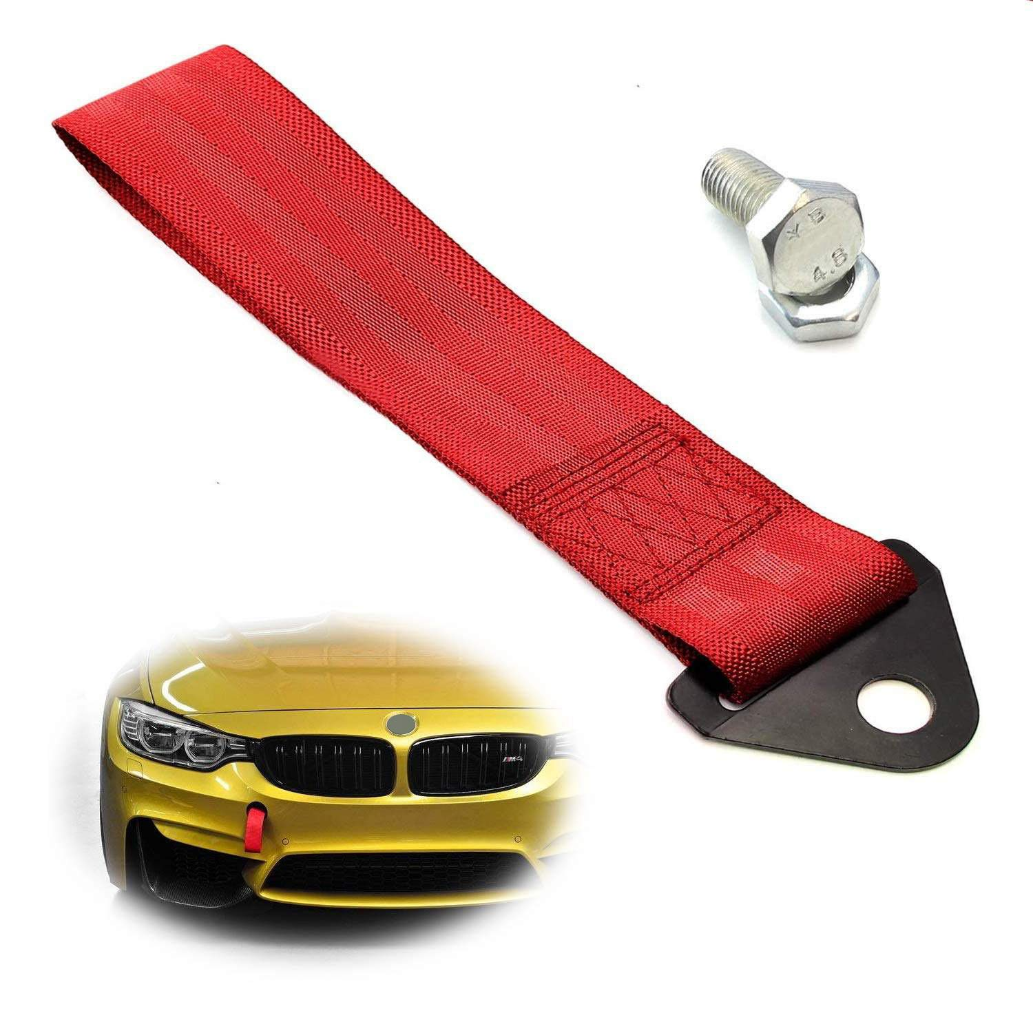 Made of Lightweight Aluminum iJDMTOY Red Track Racing Style Tow Hook Ring For 2010-2016 Hyundai Genesis Coupe 2-Door
