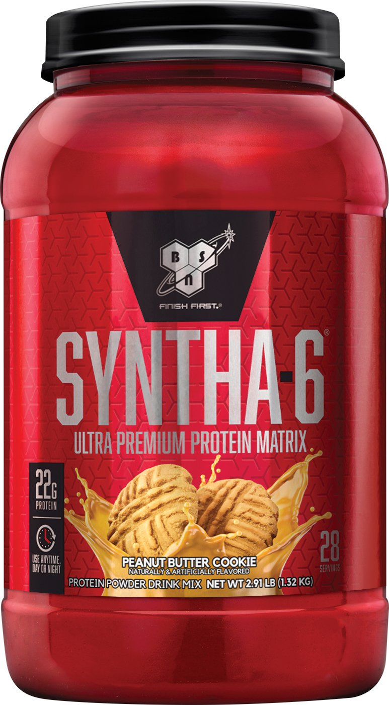 BSN SYNTHA-6 Whey Protein Powder, Micellar Casein, Milk Protein Isolate Meal Replacement Powder, Peanut Butter Cookie, 28 Servings (Packaging May Vary)