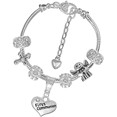 e8e574eb4a1466 Sparkly Clear Rhinestone First Holy Communion Charm Bracelet with Gift Box  and Card (NHC-