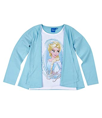 dcd09a384 Disney el Reino del Hielo Chicas Camiseta Mangas largas - Azul  Amazon.es   Ropa y accesorios