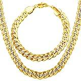 U7 Men 18K Gold Plated Cuban Chain Hip-hop Rapper's Chunky Necklace Bracelet Set Fashion Jewelry(30