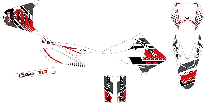 KIT Deco Motocross DERBI DRD 50 Racing Comics Blanc 2011-2012 4 MINIS PLAQUES OFFERTES