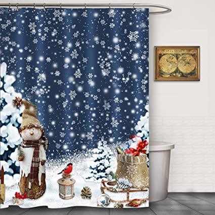 FOOG Christmas Snowflake Snowman Shower Curtains Sets 2018 New Year  Bathroom Decoration Snowed Covered Christmas Tree