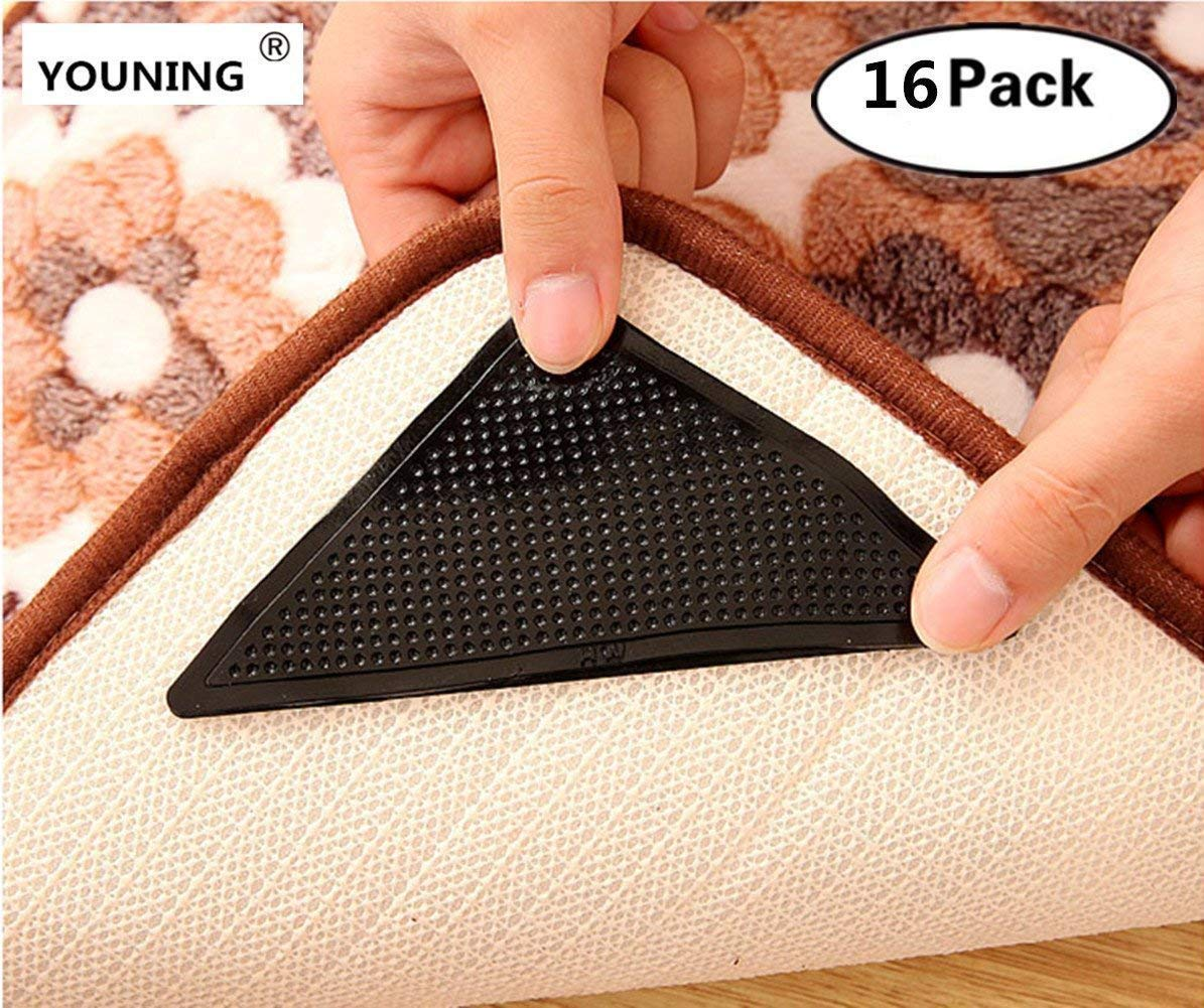 HYOUNINGF The Anazing Reusable Rug Grippers Keeps Your Rug in Place & Makes Corners Flat (Pack of 16)