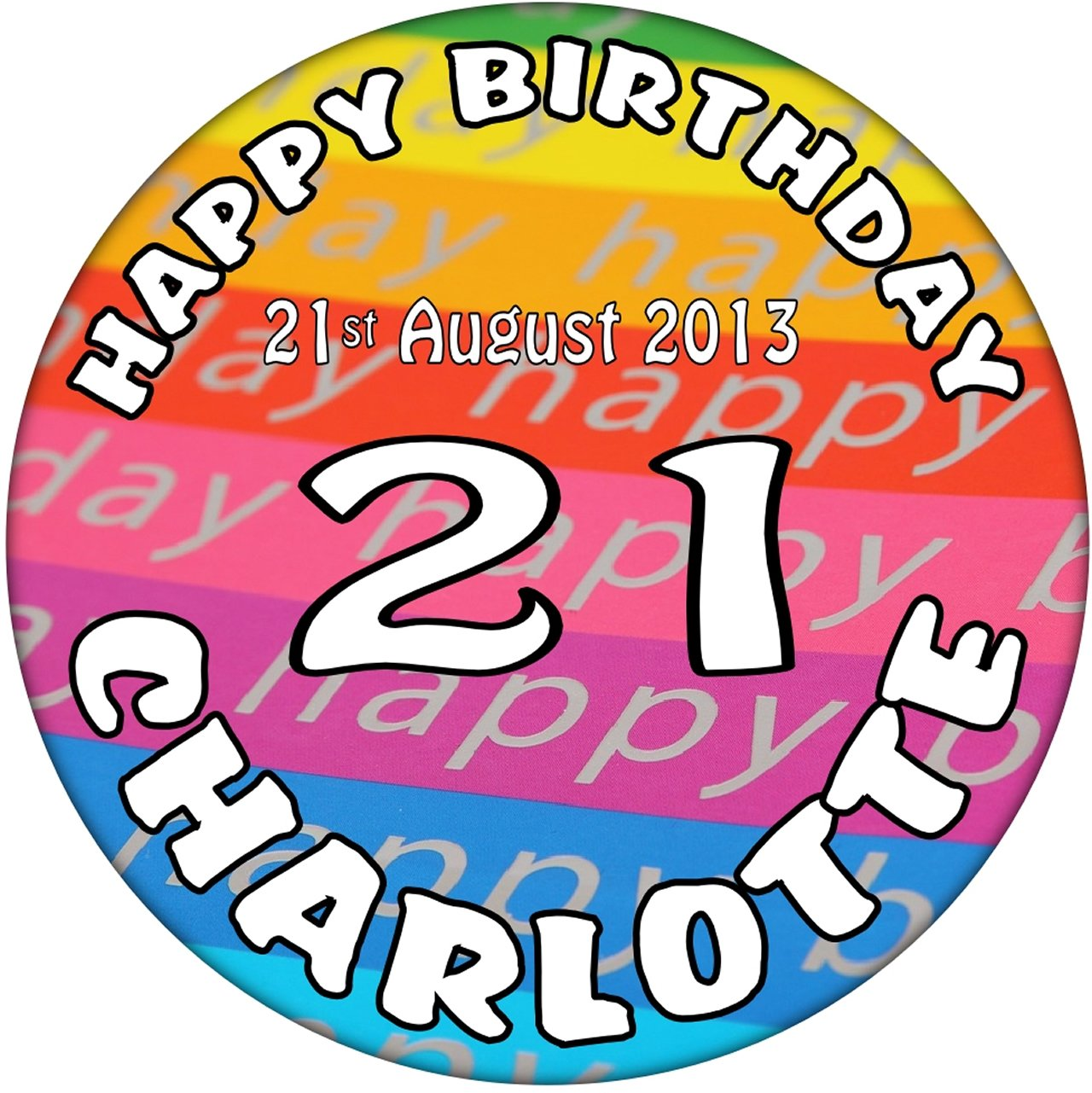 11th Birthday Personalised with Name Birthday Badge 59mm Button Badge Present