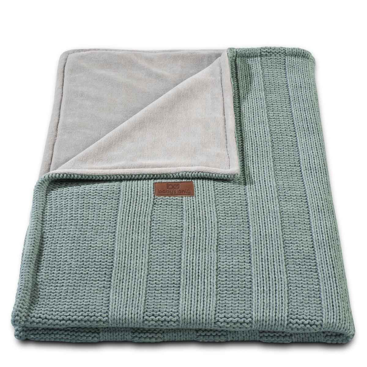 Baby's Only 151010 Babydecke Strickdecke Robust Rippe, 75 x 90 cm, stone green