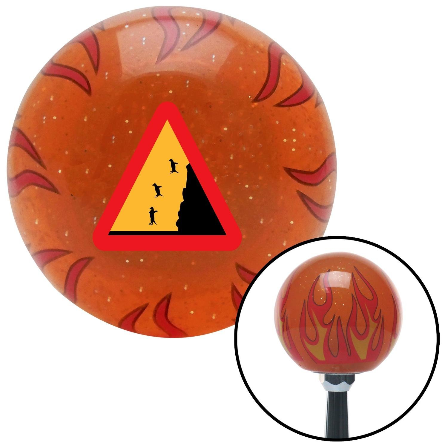 American Shifter 260135 Orange Flame Metal Flake Shift Knob with M16 x 1.5 Insert Penguins Crossing