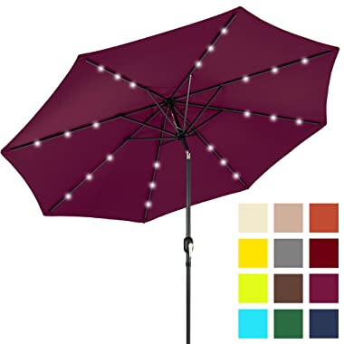 Best Choice Products 10ft Solar LED Lighted Patio Umbrella w/Tilt Adjustment - Burgundy