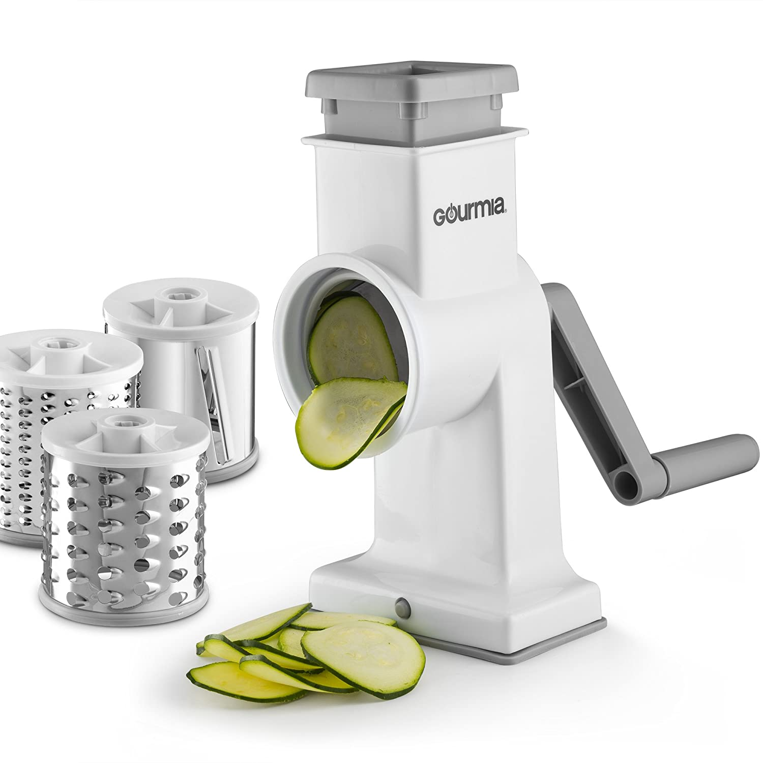 Gourmia GSS9620 Rotary Drum Grater – 3 Interchangeable Stainless Steel Grating Blades - Hand Crank - Wide Mouth Fits Large Vegetables and More – Non Skid Suction Base - BPA Free, Dishwasher Safe