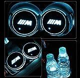 車用 LED ドリンクホルダー レインボーコースター 車載 ロゴ ディスプレイライト LEDカーカップホルダー マットパッド (BMW-M)
