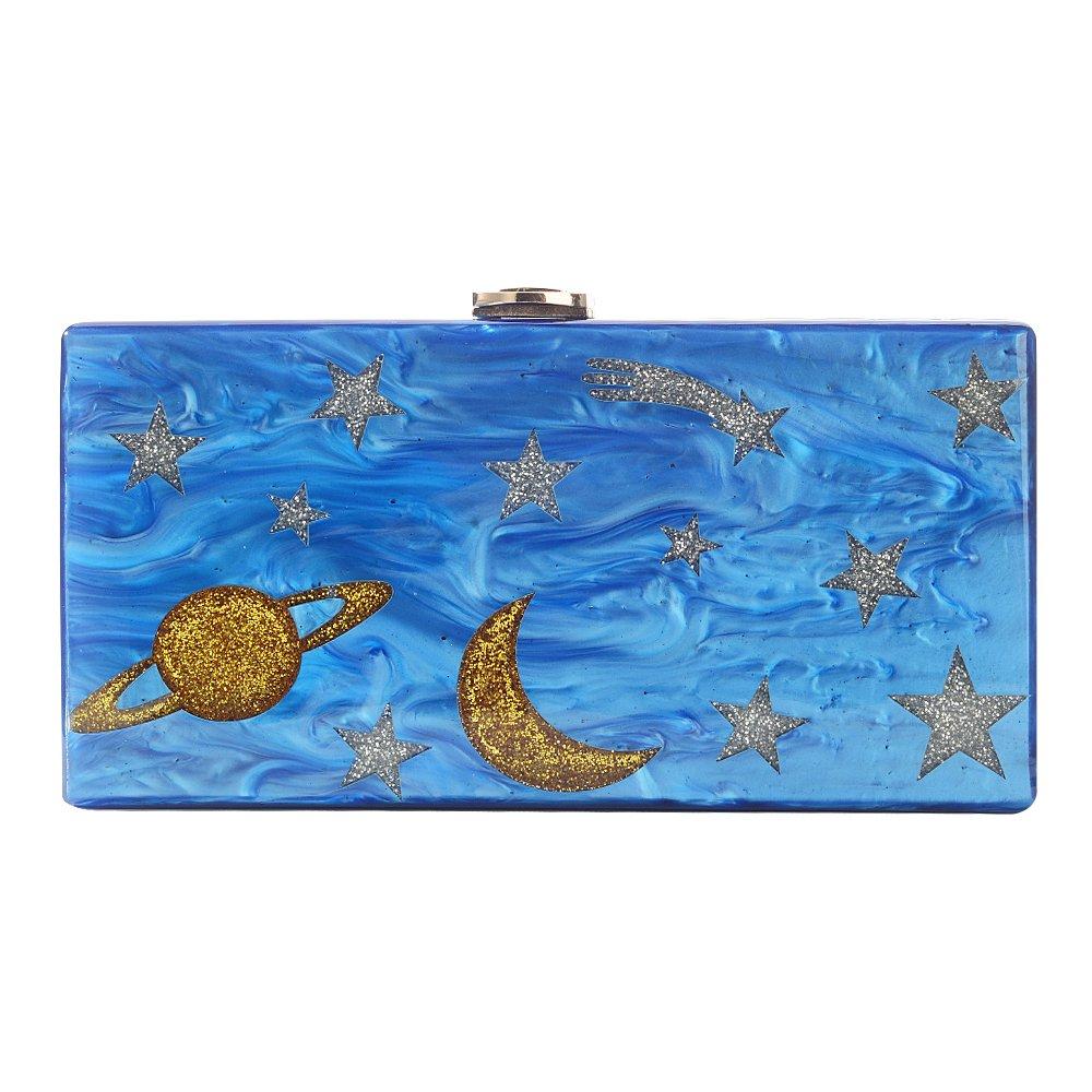 Women Acrylic Blue Night Sky Clutch Purse Evening Crossbody Bags Mini Shoulder Messenger Bag