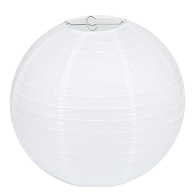 Papierlaternen, Wady 2 Stücke Papierlaterne Laterne Deko Feier Lampions Papierlampen 14(35cm) (weiß)