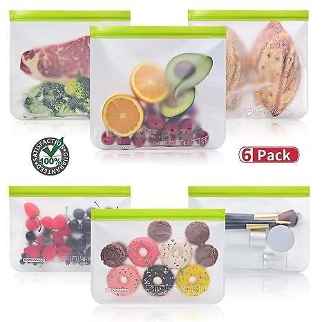 Amazon.com: Bolsas reutilizables para sándwiches, 6 paquetes ...