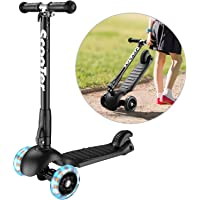(Black) - Banne Scooter Height Adjustable Lean to Steer Flashing PU Wheels 3 Wheel Kick Scooters for Kids Boys Girls