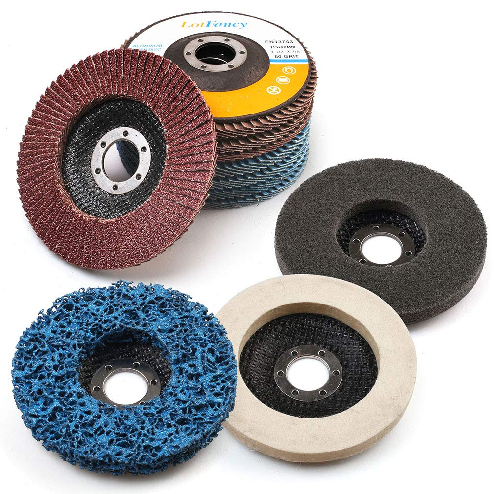 11PCS 4.5 Inch Flap Discs & Grinding Polishing Discs Set by LotFancy - 40 60 80 120 Grit Assorted Sanding Grinding Wheels, Strip Disc, Nylon Polishing Disc, Felt Polishing Disc Kit