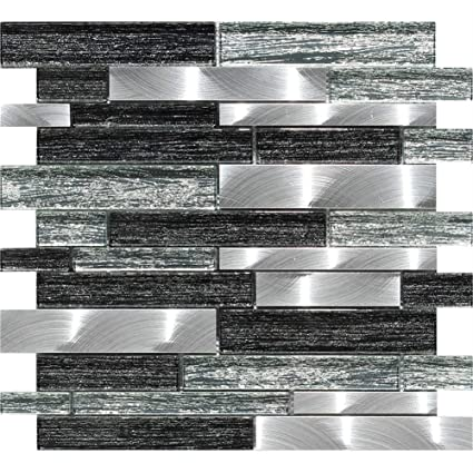 Crystal Glass and Aluminum Mosaic Wall Tiles Mesh-Mounted and Polished  Mosaic Tiles for Kitchen Backsplash & Bathroom