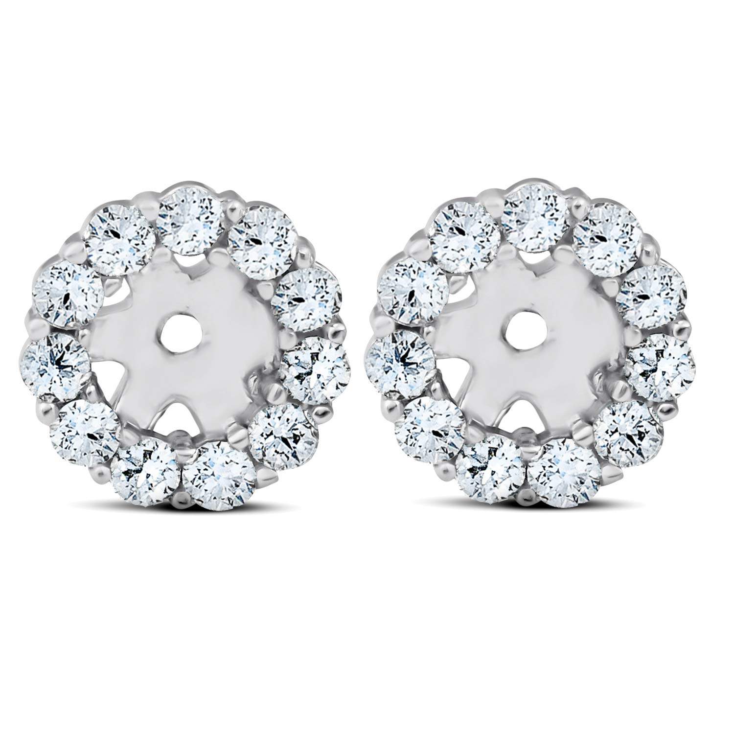3/8ct Halo Diamond Earring Jackets 14K White Gold Fits 1/4ct Stones (4mm) by P3 POMPEII3