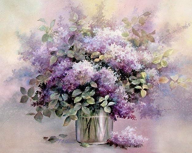 4de0babe1b65 Amazon.com  Lilacs Flowers Art Print of Watercolor Painting - Flower ...