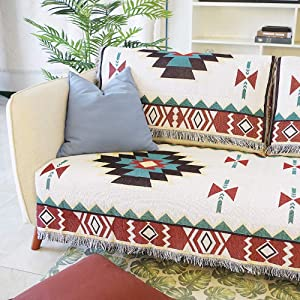 "AIVIA Southwestern Aztec Decor for Home, Cotton Woven Western Navajo Native American Tribal Decorative Sofa Cover Southwest Wall Hanging Tapestry - Cream Turquoise Burgundy Gold, 35""x35"""