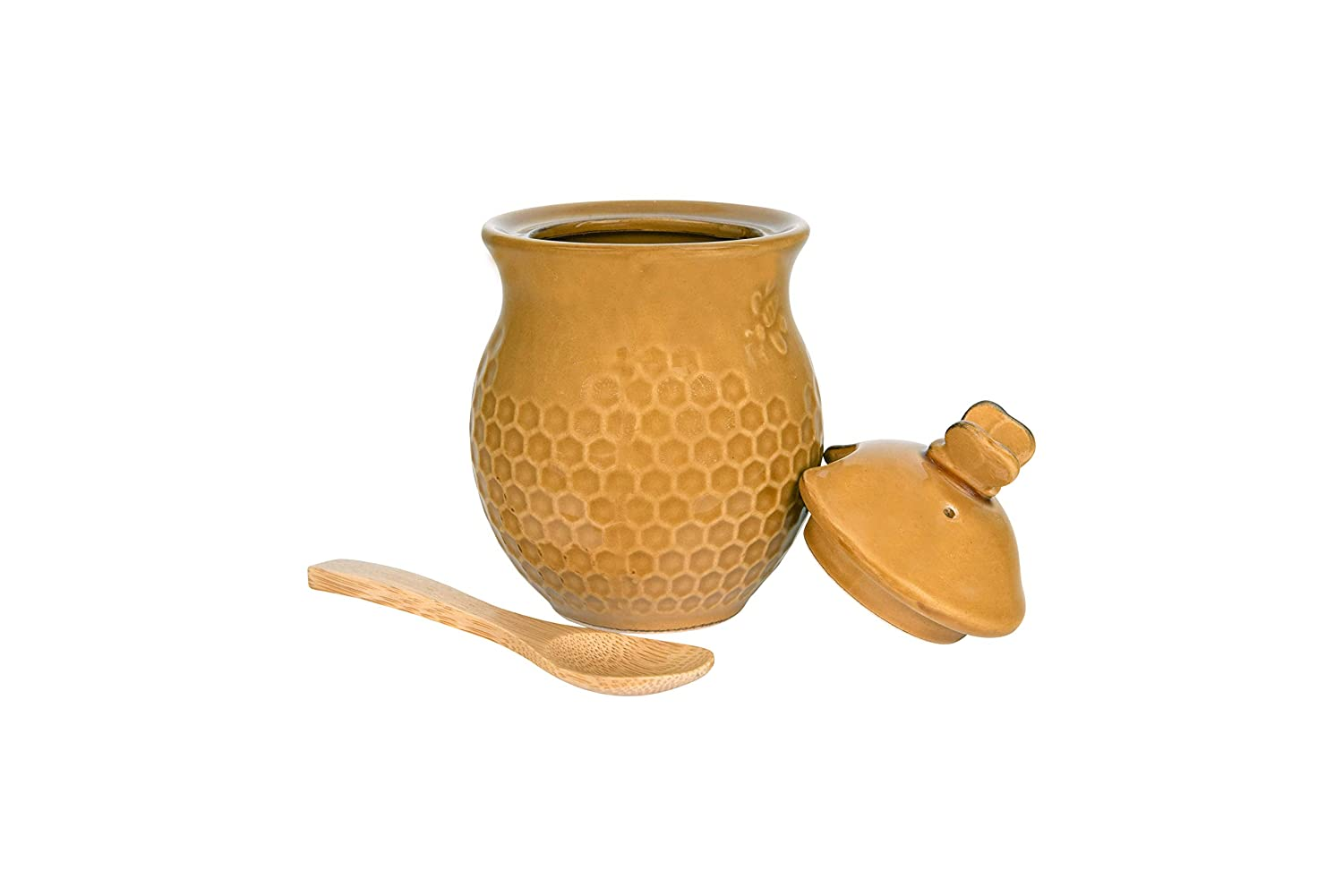 Creative Co-Op Small 3 Piece Yellow with Decorative Bees Stoneware Honey Jar with Lid /& Wood Honey Dipper DA4848