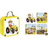 Janod - Maleta de 4 puzzles, el tractor de Peter (J02886)