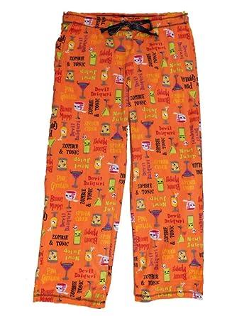 70195d93f15c5 Secret Treasures Womens Orange Fleece Halloween Sleep Pants Haunted  Cocktail Pajama Bottoms Small
