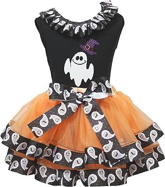 Petitebella My Second Halloween White L//S Shirt Orange Black Petal Skirt Nb-8y