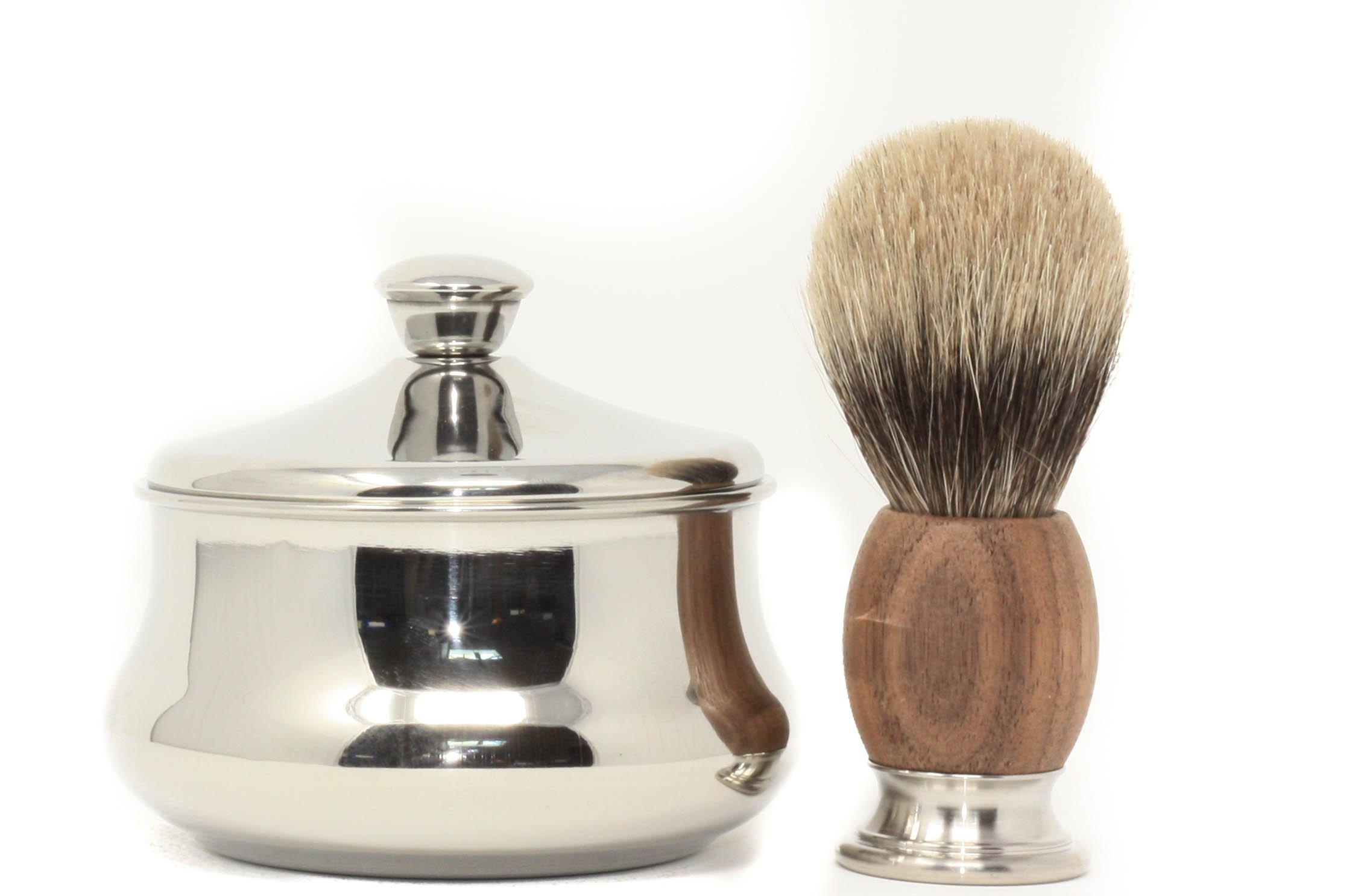 Schöne Stainless Steel Shaving Bowl with Schöne Shaving Brush (Walnut wood)