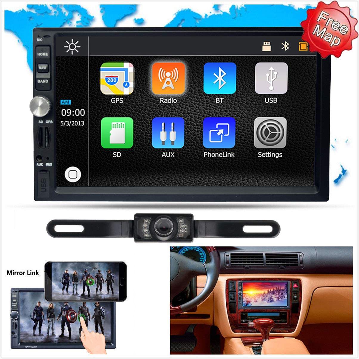 FidgetFidget Car Radio Video Stereo GPS 7'' Double 2 DIN 1080P HD Mirror Link for Android iOS