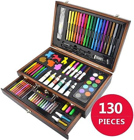 Juego de 130 lápices de colores para dibujo, lápices de colores, lápices de colores, estuche de lápices de colores, juego de pintura artística para niños con estuche de madera, herramientas de dibujo:
