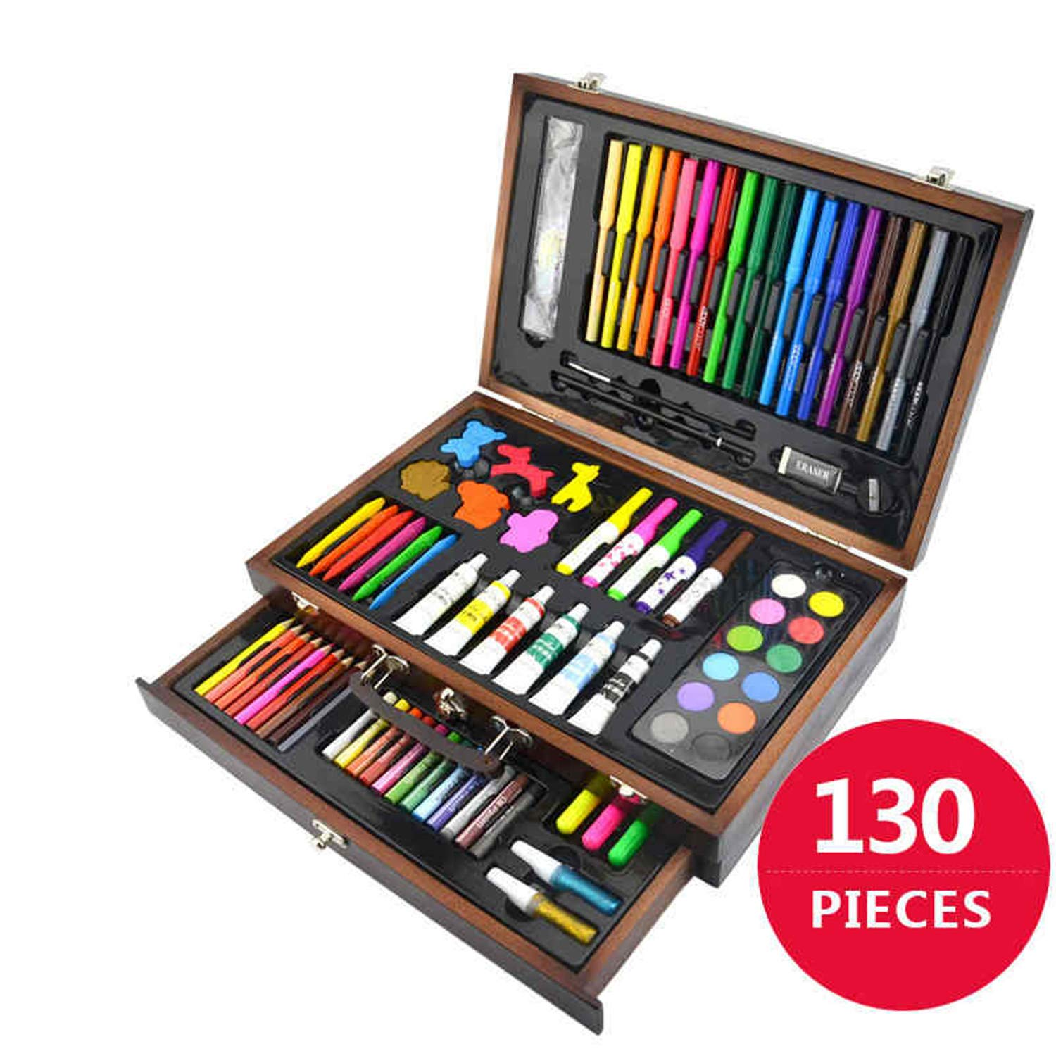 130 Piecs Drawing Pencils Color Pens Crayons Case Art Painting Set for Children Kids with Wooden Case Art Drawing Tools