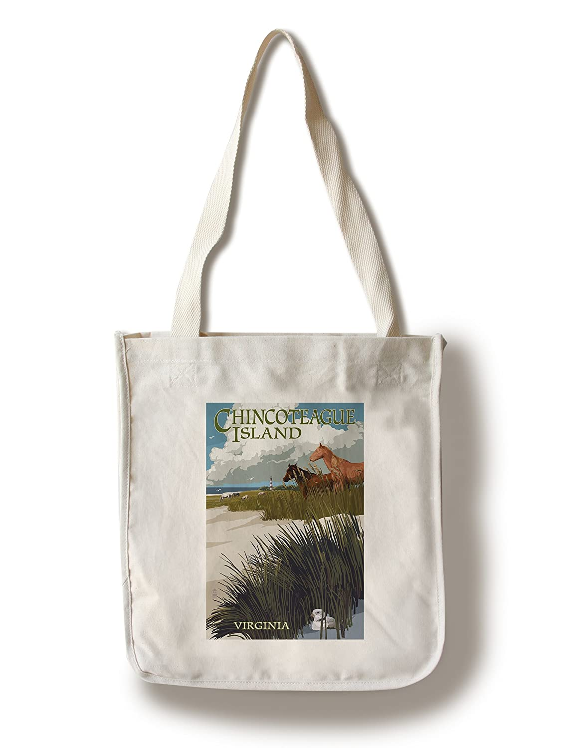 Chincoteague島、バージニア州 – Horses and Dunes Canvas Tote Bag LANT-43985-TT B01841EACK  Canvas Tote Bag