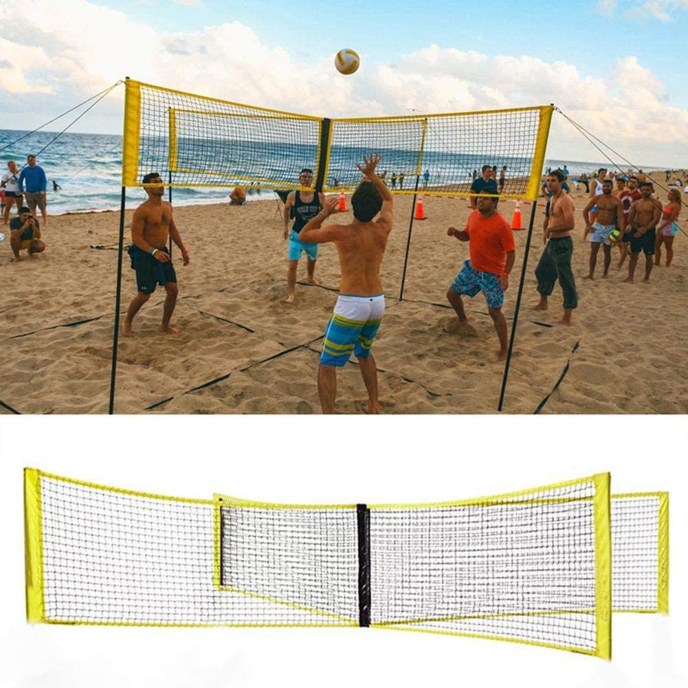 4 Way Volleyball Net Volleyball Net For Garden Pe Durable Cross Volley Ball Training Net Sports Badminton Game Net Amazon Co Uk Kitchen Home