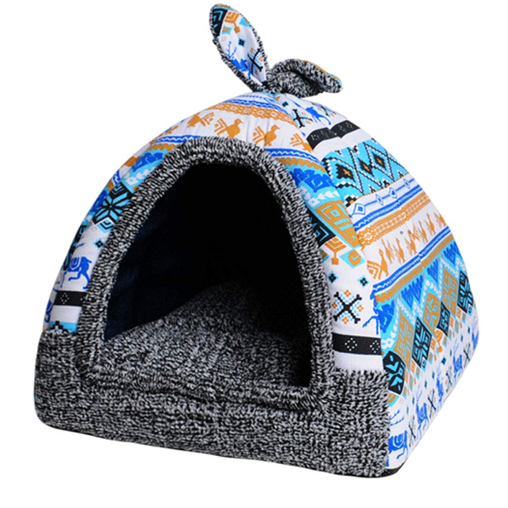Multi-colord M Multi-colord M GCHOME dog bed Dog Bed,Washable Foldable Multifunction Dog Nest Cat Bed ,Waterproof Breathable Removable Plush Warm Cushion Indoor Pet Nest (color   Multi-colord, Size   M)