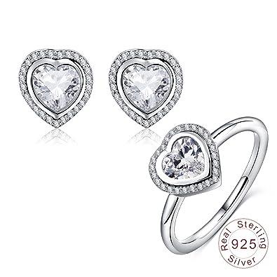 135e353d6af2 AnazoZ Juego de Joyas Mujer Plata de Ley Anillo Pendientes Corazón Cristal  CZ Juego de Joyas Mujer Plata Anillo Talla 12  Amazon.es  Joyería