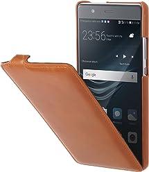 StilGut UltraSlim Case, Custodia Flip Case in Vera Pelle per Huawei P9 Plus, Cognac