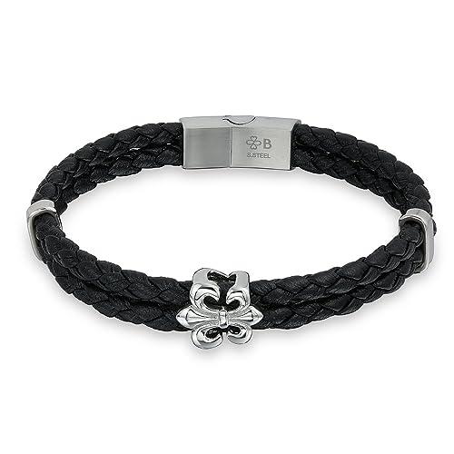 e7b581ece4863 Image Unavailable. Image not available for. Color  Bling Jewelry Boho Fleur  de Lis Black Braided Leather Bracelet for Men for Women Biker Punk