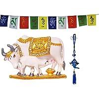 Odishabazaar Cow N Calf Idol Kamdhenu Cow and Calf Statue for car Dashboard Pooja puja, Statues for Decoration + Ganesha…