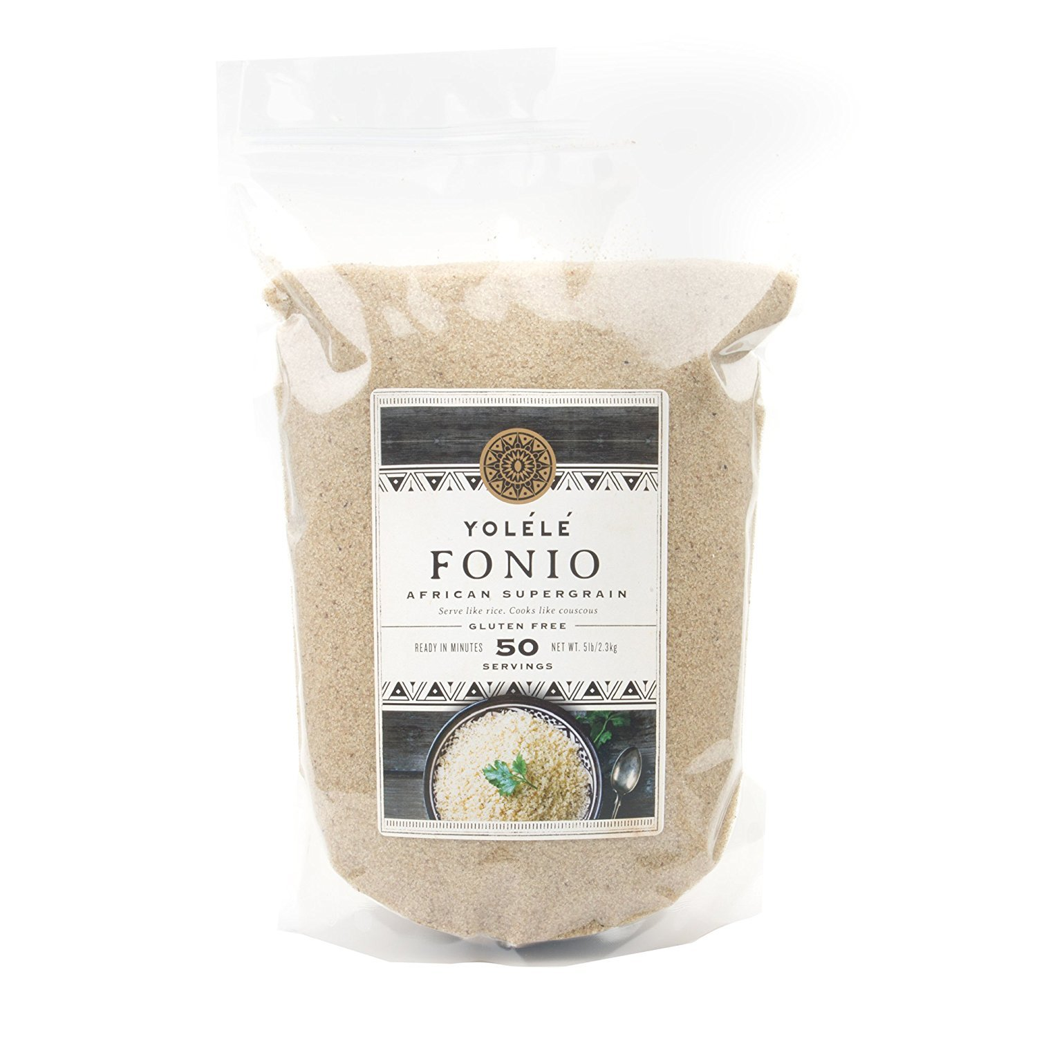 Yolele Fonio African Ancient Grain Super Food High Protein Gluten-Free Fast Cooking Vegan Premium Quality 50 Servings Bulk 5 Lb Pouch (80-Ounce) by Assortit
