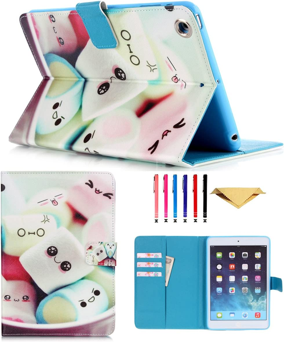 iPad Mini Case, Mini 4 Mini 2/3 Case Cover, MonsDirect Smart Kickstand PU Leather Case Flip Wallet Protective Cover Compatible with Apple iPad Mini 1 2 3 4, Marshmallow